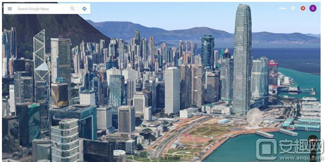 通过谷歌地图和谷歌地球的新收录的3d图片,用户可以俯瞰整个香港九龙